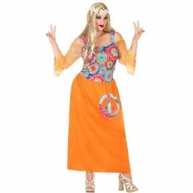 Goedkoop grote maat oranje flower power jurk dames carnavalskleding