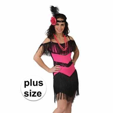 Goedkoop grote maat roze/zwart jaren jurkje dames carnavalskleding