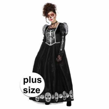 Goedkoop grote maat zwarte jurk schedels dames carnavalskleding