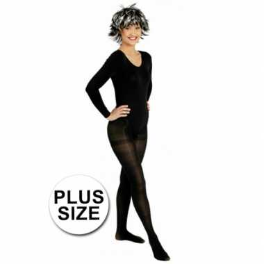 Goedkoop grote maten carnavalskleding zwarte panty dames