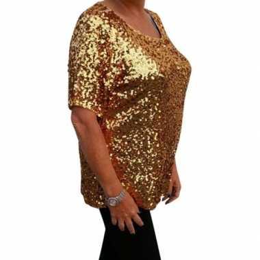 Goedkoop grote maten gouden glitter pailletten disco shirt dames xl c