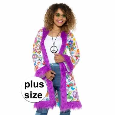 Goedkoop grote maten hippie groovy pluche jas dames carnavalskleding