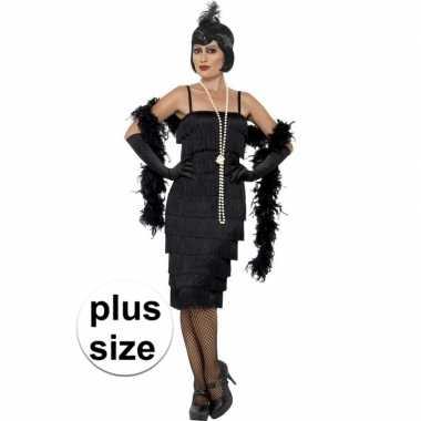 Goedkoop grote maten zwarte jaren flapper jurk lang dames carnavalskl