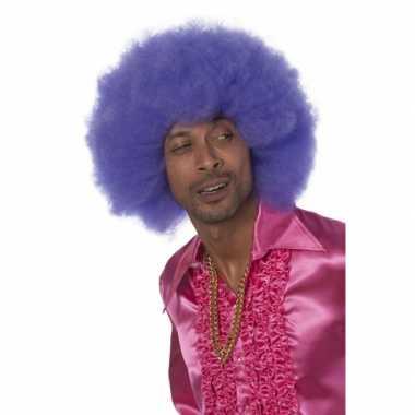 Goedkoop grote paarse afro pruiken carnavalskleding
