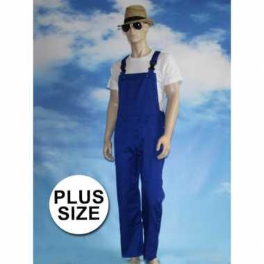 Goedkoop grote verkleed tuinbroek blauw volwassenen carnavalskleding