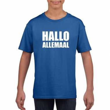 Goedkoop hallo allemaal tekst blauw t shirt kinderen carnavalskleding