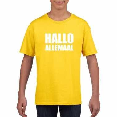 Goedkoop hallo allemaal tekst geel t shirt kinderen carnavalskleding