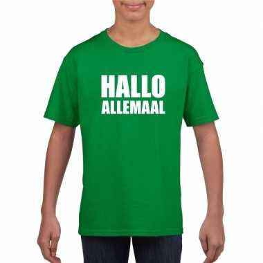 Goedkoop hallo allemaal tekst groen t shirt kinderen carnavalskleding