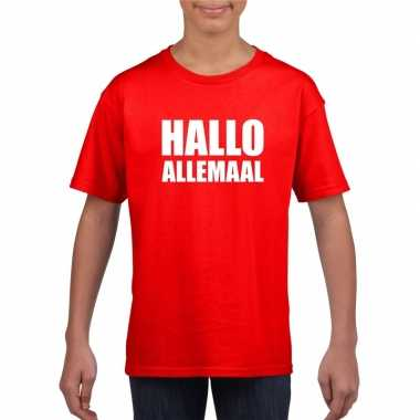 Goedkoop hallo allemaal tekst rood t shirt kinderen carnavalskleding