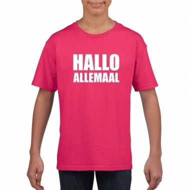 Goedkoop hallo allemaal tekst roze t shirt kinderen carnavalskleding