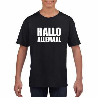 Goedkoop hallo allemaal tekst zwart t shirt kinderen carnavalskleding