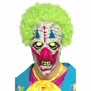 Goedkoop halloween glow the dark clowns masker carnavalskleding