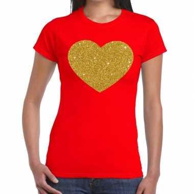 Goedkoop hart goud glitter fun t shirt rood dames carnavalskleding