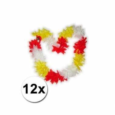 Goedkoop  Hawaii kransen rood/geel/wit carnavalskleding