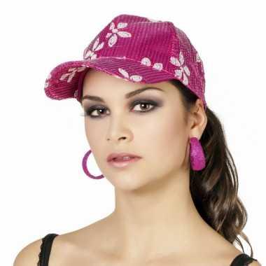 Goedkoop hawaiiaanse pet roze dames carnavalskleding