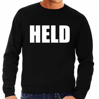 Goedkoop held tekst sweater / trui zwart heren carnavalskleding
