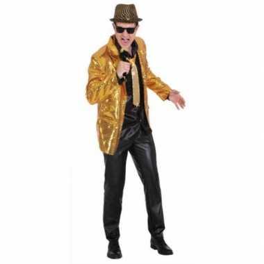Goedkoop  Heren colbertje goud pailletten carnavalskleding