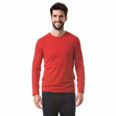 Goedkoop heren shirt rood long sleeve stretch carnavalskleding