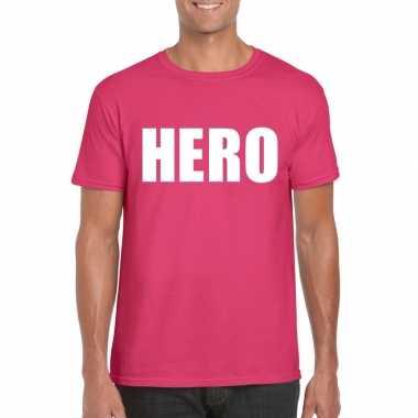 Goedkoop hero tekst t shirt roze heren carnavalskleding