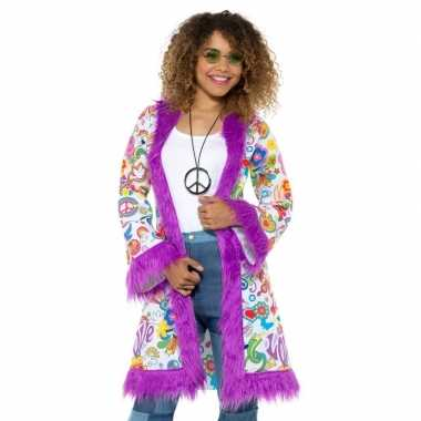 Goedkoop hippie groovy pluche jas dames carnavalskleding
