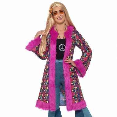 Goedkoop hippie peace pluche jas dames carnavalskleding