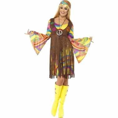 Goedkoop hippie verkleed jurkje gilet dames carnavalskleding