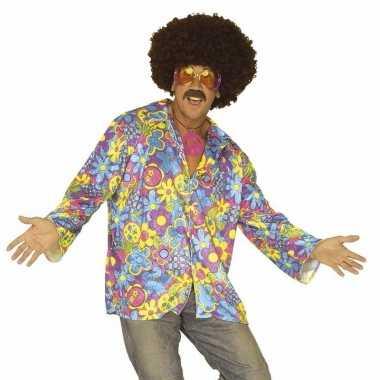 Goedkoop hippie verkleed overhemd paars/blauw heren carnavalskleding