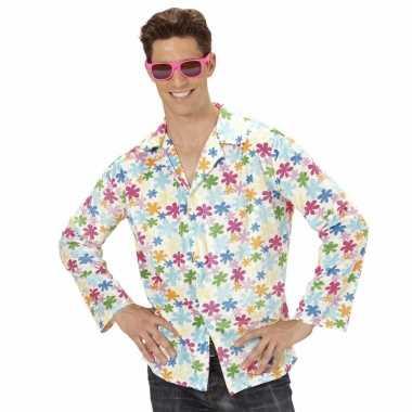 Goedkoop hippie verkleed overhemd wit/gekleurd heren carnavalskleding