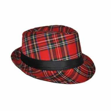Goedkoop hoed schotse ruit rood carnavalskleding