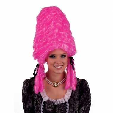 Goedkoop hofdame pruik roze carnavalskleding