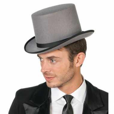 Goedkoop hoge grijze hoeden carnavalskleding