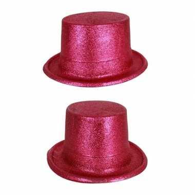Goedkoop hoge hoed fuchsia roze glitters carnavalskleding