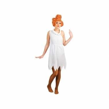 Goedkoop holbewoonster jurk wit dames carnavalskleding