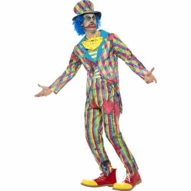 Goedkoop horror clownscarnavalskleding streepjes mannen