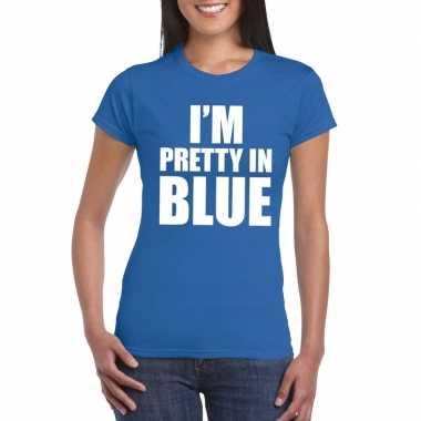 Goedkoop i'm pretty blue t shirt blauw dames carnavalskleding