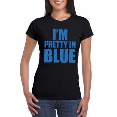 Goedkoop i'm pretty blue t shirt zwart dames carnavalskleding