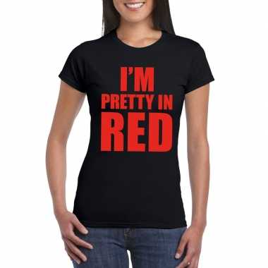Goedkoop i'm pretty red t shirt zwart dames carnavalskleding