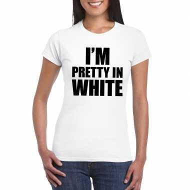 Goedkoop i'm pretty white t shirt wit dames carnavalskleding