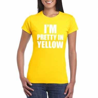 Goedkoop i'm pretty yellow t shirt geel dames carnavalskleding
