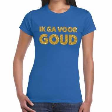 Goedkoop ik ga goud glitter tekst t shirt blauw dames carnavalskledin