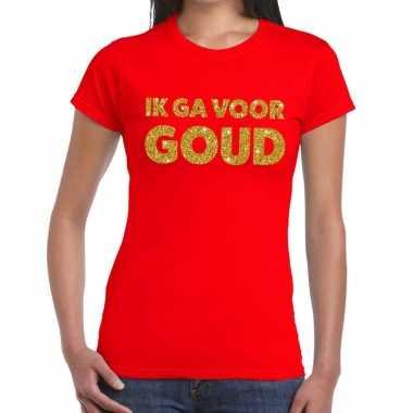 Goedkoop ik ga goud tekst t shirt rood dames carnavalskleding