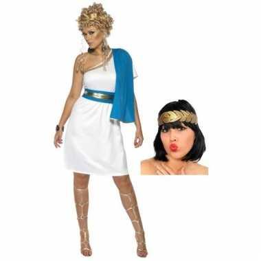 Goedkoop kort romeinse dames jurkje inclusief hoofdkrans carnavalskle