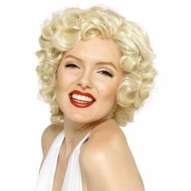 Goedkoop korte blonde pruik krullen carnavalskleding