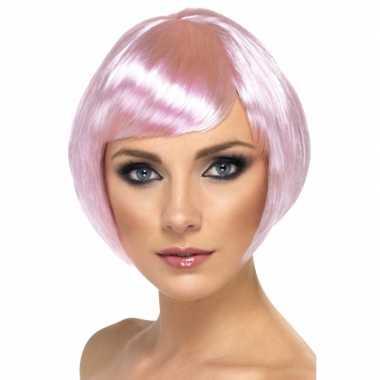 Goedkoop  Korte roze damespruik carnavalskleding