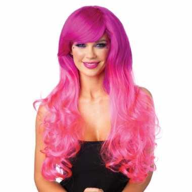 Goedkoop krullende roze pruik tweekleurig carnavalskleding