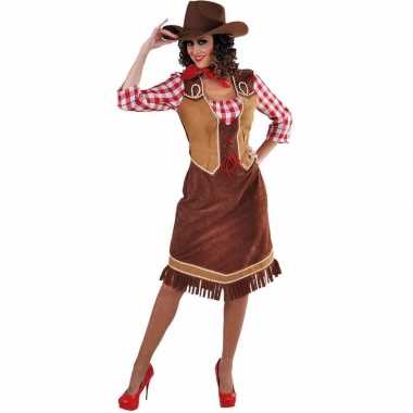 Goedkoop lange cowgirl jurk geruite blouse dames carnavalskleding