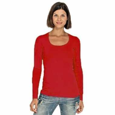 Goedkoop lange mouwen rood dames shirt carnavalskleding