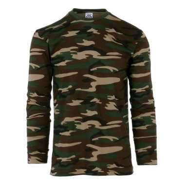 Goedkoop lange mouwen shirt camouflage carnavalskleding