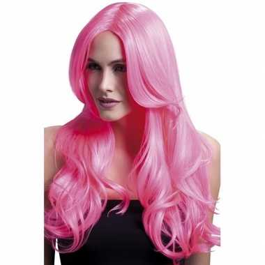 Goedkoop luxe krullen pruik neon roze lange pony carnavalskleding
