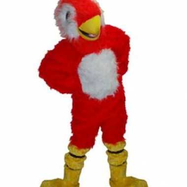 Goedkoop luxe mascotte rode papegaai carnavalskleding
